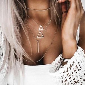 4 for $25 multilayer triangle bar necklace